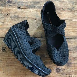 Bernie Mev 40 Black Cross Strap Black Wedge Shoes